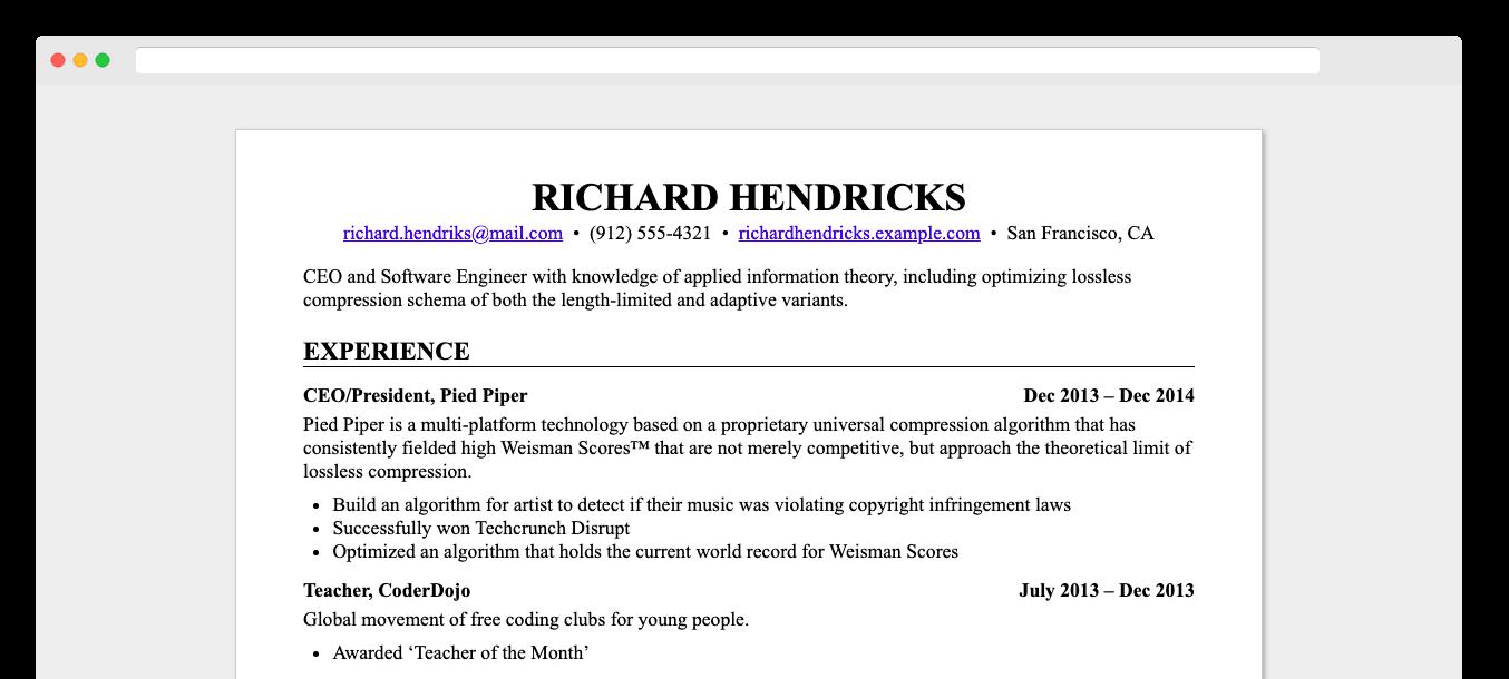 Screenshot ofresume.html